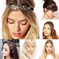 Lady Women Head Chain Jewelry Metal Rhinestone Headband Head Piece Hair Band FZ