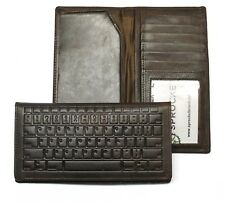 Keyboard Embossed Leather Rodeo Wallet / Roper Wallet RFID Safe Dark Brown