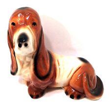 Basset Hound Dog Coin Bank Vintage Ceramic Figurine 8.75 inches Tall Puppy
