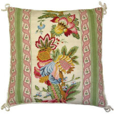 """16"""" x 16"""" Handmade Wool Needlepoint Petit Point Hanging Bell Pillow with Cording"""