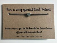 For A Very Special Best Friend Silver Heart Message Card Wish Bracelet Gift Xmas