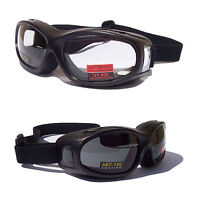 NEW- FLIGHT Over The Glasses [OTG] Motorcycle Biker Goggles  Clear+Tinted Lenses