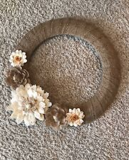 Burlap Wreath Door Decor, Shabby Chic Wreath, 16� Wreath, Burlap Flower Wreath