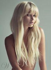 Mode Dame Lang Glatt Haar Hellblond Schöne Synthesis Perücken Wig