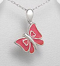 "1"" Solid Sterling Silver Pink Enamel Butterfly Pendant 2.8g SO PRETTY"