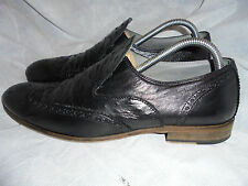 HUGO BOSS MEN'S BLACK PART OSTRICH LEATHER SLIP ON SHOES SIZE UK 8 EU 42 VGC
