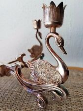 Brass Table Centerpiece 4 Candle Holder Chandelier with Swans Unique Vintage