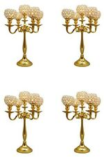 Wholesale 5 Arm Gold Crystal Candelabra Wedding Table Centerpieces Set Of 4 Pcs