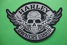 "Genuine HARLEY DAVIDSON 5 inch ""Skull & Wings"" HOG EMBROIDERED PATCH"