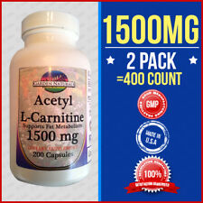 2 Pak Acetyl L-Carnitine 1500mg Energy-Chronic Fatigue-Focus- Anti Aging -400Cap