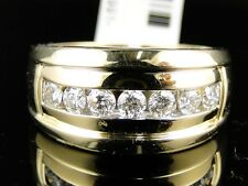 14K MENS YELLOW GOLD 1 ROW REAL WEDDING BAND DIAMOND 12 MM RING 1 CT