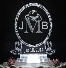 Western Oval Monogram Lighted Wedding Cake Topper Acrylic LED Custom Personalize
