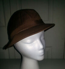 VTG Waterproof Brown Cotton/Polyester Blend TOTES Fedora/Trilby Hat Sz M EUC