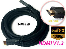 24AWG Thick HDMI 1.3 Cable 8 FT Gold-plated PVC Net 10.2Gbps 1080P HDTV PS3