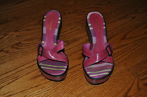 Womens ENZO ANGIOLINI Pink Leather Open Toe Heels Shoes Size 7.5 M MADE BRAZIL!!