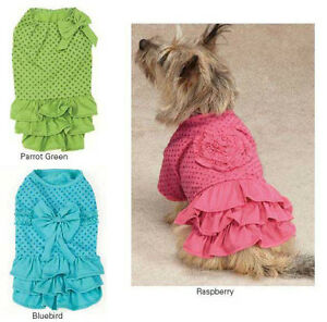 Polka Dot Ruffle Dog Dress Zack & Zoey  pink green blue dresses Pet