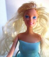 Barbie doll with blonde hair has handmade aqua dress & new high heels