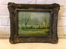 Antique Landscape Farm Scene of Cows Framed with Convex Glass