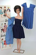 Vintage Barbie: Rare Brunette (Raven) Bubble Cut Barbie, Box, Ständer (stand)