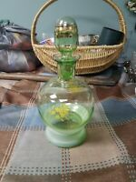 Vintage Green Glass Whiskey Bottle Carafe With Stopper Gold Trim