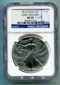 2013 AMERICAN SILVER EAGLE NGC MS69 EARLY RELEASES BLUE PREMIUM QUALITY PQ
