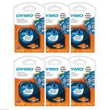 6PK NEW Dymo Letra Tag WHITE Plastic LetraTag XR QX50 LT-100 Label Refill Tapes