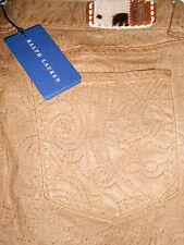 New Ralph Lauren brown wax look embellished jeans W31 RRP £650