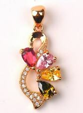 18K Yellow Gold Filled - Floral 8 Design Pink Topaz Peridot Citrine Gems Pendant