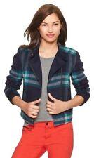 NWOT Gap Plaid Wool Cropped Moto Jacket - Sz Medium -