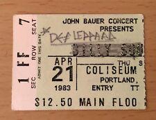 1983 Def Leppard Pyromania Tour Portland Oregon Concert Ticket Stub Billy Squier