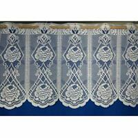 """WHITE LACE FLORAL PANEL VINTAGE FLOWER WINDOW 15"""" CAFE NET CURTAIN BY THE METRE"""