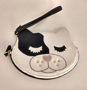 Luv Betsey Johnson Wristlet Cat Kitty Coin Purse NWOT White Black