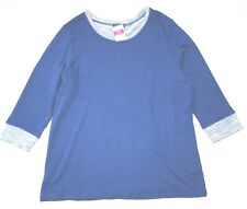 FRESH PRODUCE 1X Electric BLUE Sunset FRENCH Terry 3/4 Sweatshirt Top NWT New 1X