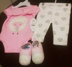 Nice 3 piece infant girl pink/white/black outfit with shoes (0-3mths) -New