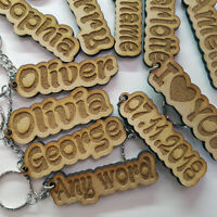 Personalised KEYRING KEYCHAIN ANY NAME ANY WORD GIFT TEACHER SCHOOL BAG WORD