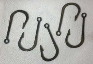 Lot of 5 Fishhook Shape 3 Inch Rusty Metal Vintage Stencil Ornament Magnet Craft