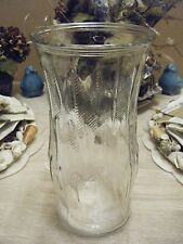 CLEAR GLASS EMBOSSED VASE 9.5 X 4.5 OPENING