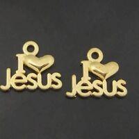 70pcs Antiqued Gold Vintage Alloy Love Heart Jesus Word Pendant Charms 05717