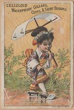 Victorian Trade Card-Celluloid Collars & Cuffs-Oriental Using Products in Rain