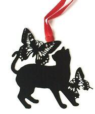 Cat Bookmark Metal Cat Lover Gift Black Red Ribbon Book Page Marker Kitten UK