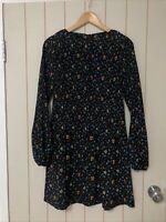 EUC Maje Rockina Floral Print Pleated Black Blue Mini Dress Size 3 RRP$410