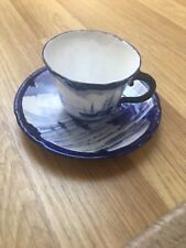 Royal Crown Derby Antique Blue and White Shipping Scene Cup and Saucer 1896