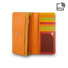 DuDu Portafoglio in Pelle RFID da donna Rosso Multicolore con patta e bottone
