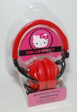 Hello Kitty Stereo Headphones Foldable Adjustable Headband Swivel Ear Cups RED
