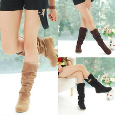 Women's Ladies Suede Leather Flat Heels Boots Shoes Cuff Slouchy Mid-Calf