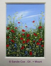SANDIE COE . Original Miniature Oil Painting . ACEO + MOUNT/ MAT .. Red Poppies