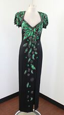 Vtg Alyce Designs Black Green Silk Beaded Sequin Evening Formal Party Dress S M