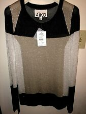 NWT AIKO Metallic Colorblock Sweater Sz SMALL - $250