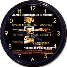 James Bond 007 Sean Connery Goldfinger Ian Fleming Spy Movie poster Wall Clock
