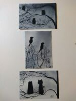 Aceo Cards. Trio. Birds, owl, pussycat. An  ELW Original Watercolour.